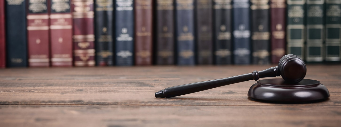 Law and enforcement picture of a hammer and books